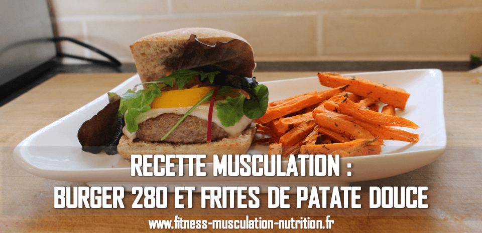 burger 280 et frites de patates douces fitness musculation nutrition. Black Bedroom Furniture Sets. Home Design Ideas
